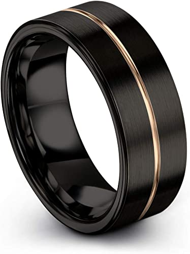 Midnight Rose Collection Tungsten Wedding Band Ring 12mm for Men Women 18k Rose Yellow Gold Plated Flat Cut Off Set Line Black Brushed Polished