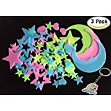 Littlefun Luminous Wall Sticker Glow in the Dark Fluorescent Home Decor for Kid Bedroom Living Room Star Moon Decoration(3 Packs)
