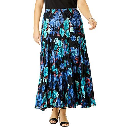 Jessica London Women's Plus Size Cotton Crinkled Maxi Skirt - Black Watercolor Rose, 28