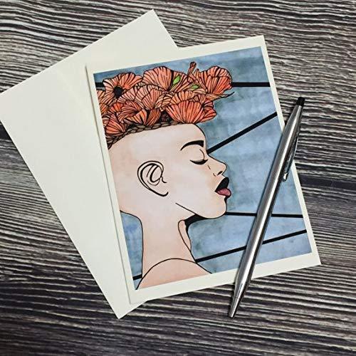 - Poppy Hawk - Flower Mohawk Inspired Watercolor Art Print - Ivory Note Card