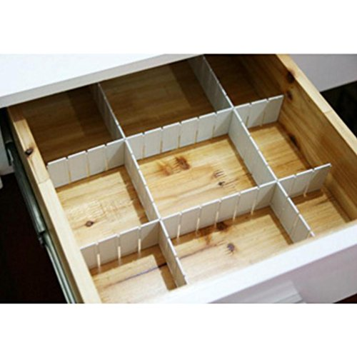 6pcs DIY Grid Drawer Divider Storage Space Saving for Home Closet Office Socks Underwear (Plastic Draw Divider)