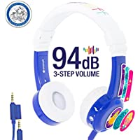 InFlight 3-Step Volume Limiting Kids Headphones - Durable, Comfortable & Customizable - Built in Headphone Splitter and In Line Mic - Perfect for Airplane Use - Blue