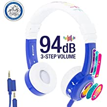 Kids Headphones by onanoff| Inflight Model Series with 3 Kids Safe Volume Limit Settings | Built in Headphone Splitter and In Line Mic | Perfect for Airplane Use | Blue
