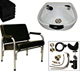 LCL Beauty Heavy Duty Shampoo Package with Auto Reclining Shampoo Chair and White CERAMIC Shampoo Bowl – FREE 6 Black Absorbent Salon Quality Towels