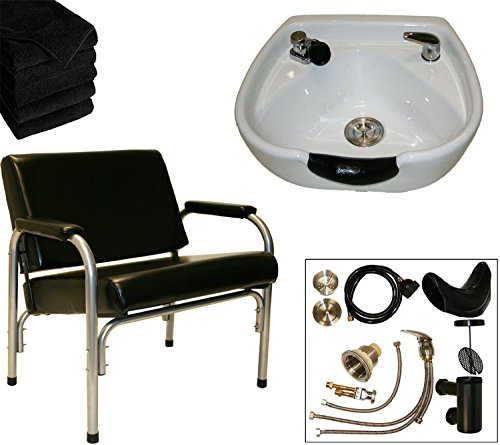 LCL Beauty Heavy Duty Shampoo Package with Auto Reclining Shampoo Chair and White CERAMIC Shampoo Bowl - FREE 6 Black Absorbent Salon Quality Towels