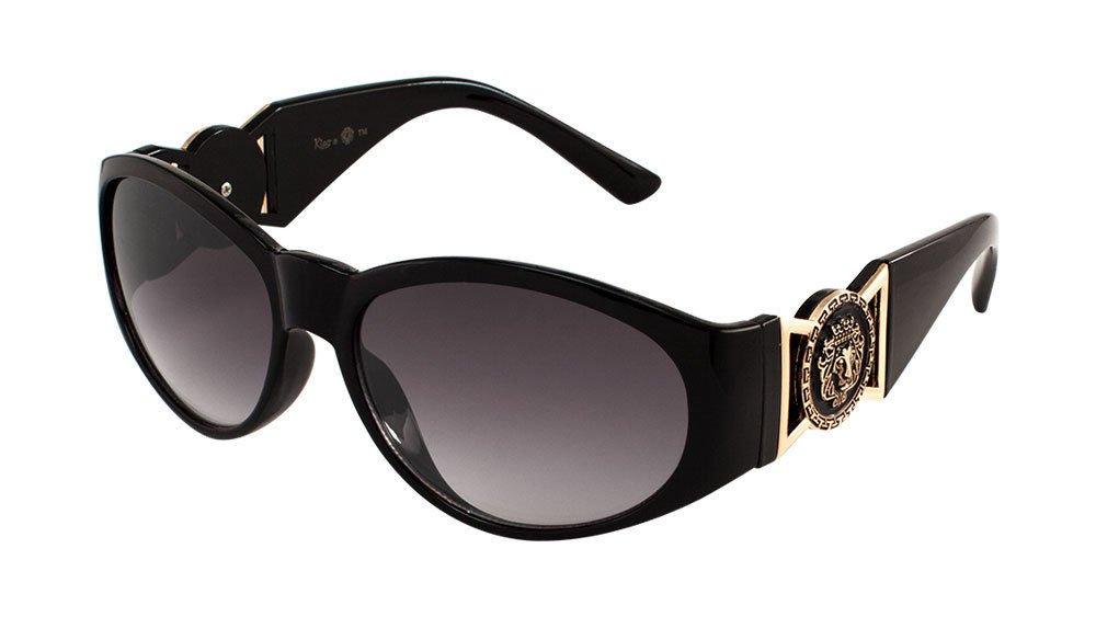fb6fd5b17211 Kleo Oval Gold Lion Head Medallion Sunglasses (Black, Black)