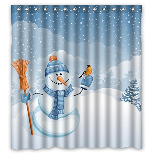 Cute Snowman Falling Snow Polyester Waterproof Shower Curtain 66