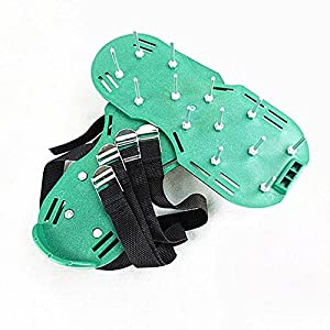 PINSHANG Garden Grass Spikes Metal Nail Construction Industry Scarifier Lawn Aerator Shoes Practical Tool (green)