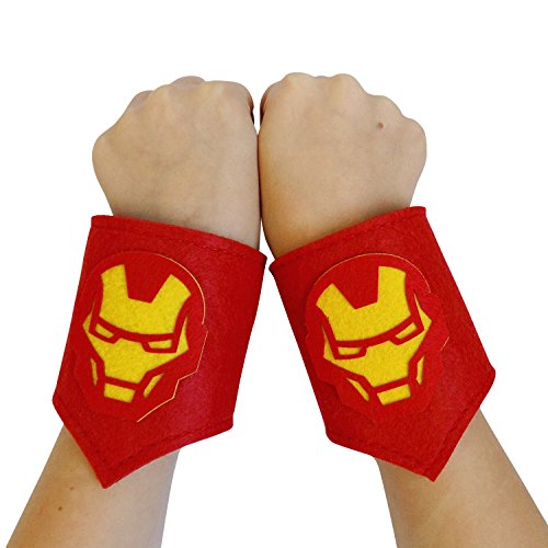 Baby Girl Iron Man Costume (So Sydney Superhero or Princess WRIST BANDS Kids Childrens Toddler, Boy, Girl (Ironman - Red & Yellow))