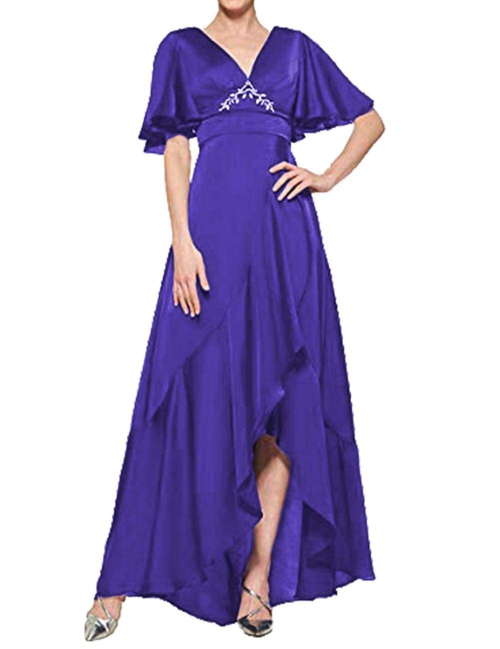 Dark bluee H.S.D Mother of The Bride Dresses V Neck Evening Dress Asymmetrical Formal Gown Empire