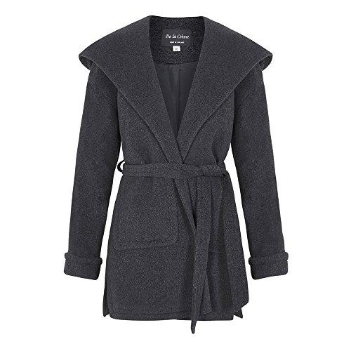 De La Creme – Grey Women`s Winter Wool Cashmere Wrap Hooded Coat Size 10