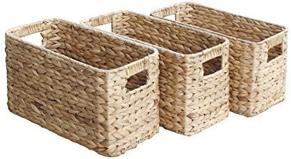 Ideal Gift Baskets Set of 3 Small Milton Brown Rattan Storage Baskets 3 x W20 x D38 x H21cm