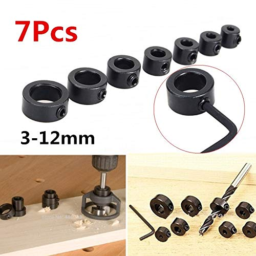 8pcs 3-12mm Drill Bit Locator Depth Stop Collars Ring Positioner + Hex Wrench ()
