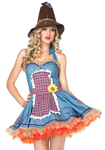 Girl Scarecrow Halloween Costumes (Leg Avenue Women's Sunflower Scarecrow Costume, Blue/Multi, Small/Medium)