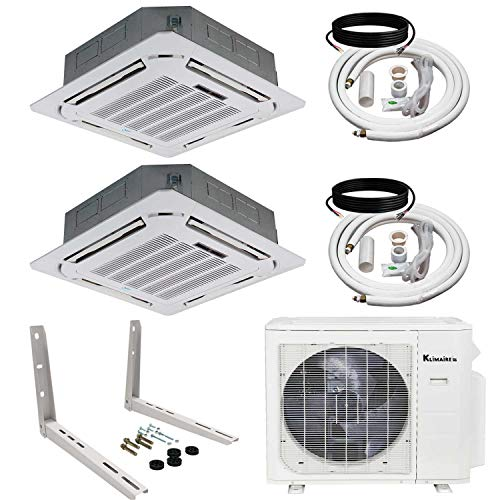 Klimaire 2-Zone (12+12) Kbtu Ceiling Cassette 21 SEER Ductless Multi-Zone Inverter Air Conditioner Heat Pump with 25 Ft Installation Kits and Outdoor Unit Mounting Bracket