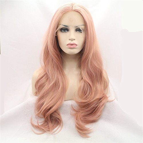 Xiweiya Peach Pink Synthetic Wigs Long Body Wave Rose Gold