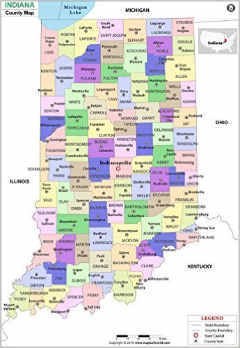 County Map Indiana Amazon.: Indiana County Map   Laminated (36