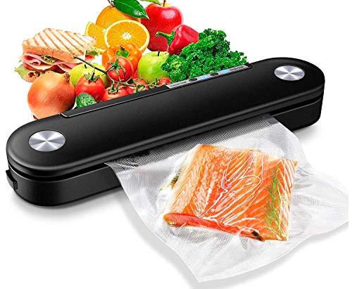 Vacuum Sealer Machine, Automatic Air Sealing System Start Kit for Food Preservation Storage with Led Indicator Lights, Portable Heat Sealer for Food Savers and Sous Vide (10 Vacuum Sealing Bags, Black)