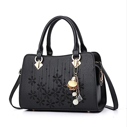 Women's Designer Shoulder Handbags Top Handle Satchel Tote PU Leather Handbags and Purses (black) by OxsOy