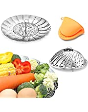 Vegetable Steamer Basket Stainless Steel Premium Folding Veggie Steamer, Steamer for Cooking Lobster, Dumplings, Seafood, Suitable for Instant Pot Expandable to Fit Various Size Pot 7''-11''