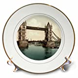 3dRose Tower Bridge Lowered London Vintage Photograph Porcelain Plate, 8''
