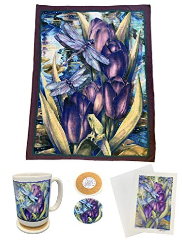 - Tapps Home Décor Line 4 Piece Dragonfly Theme Gift Set: Fleece Throw Blanket, Mug, Coaster Lid, and Blank Greeting Card