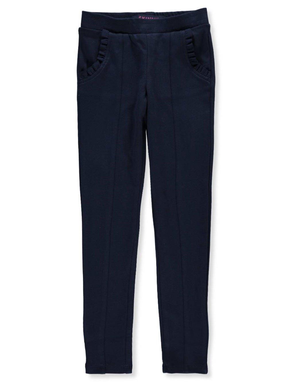 French Toast School Uniform Girls Ruffle Knit Pull-on Pants, Navy, Large (10/12)