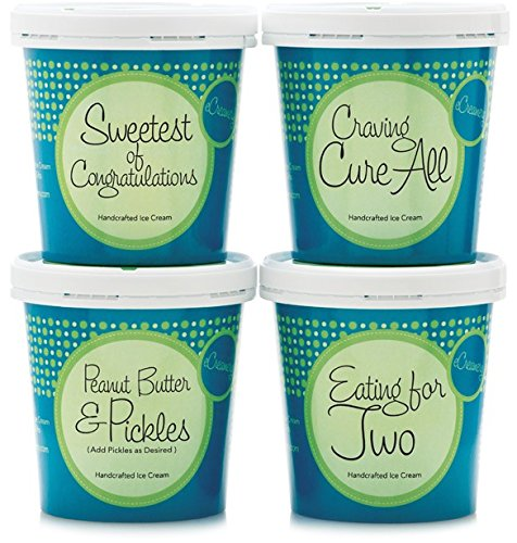 Pregnancy Cravings or Baby Shower Ice Cream Gift Box - 4 Pints of eCreamery Gourmet Handcrafted Ice Cream - For New Moms and Expectant or Pregnant Women