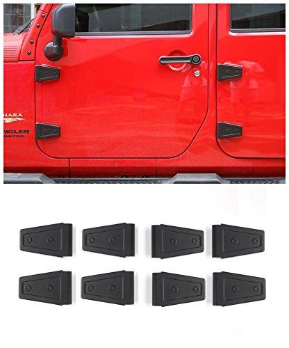 Niceautoitem Car Exterior Side Door Strengthen Car Door Hinge Cover ABS For Jeep Wrangler2/4-Door 2007-2017 (Black(4-Door))