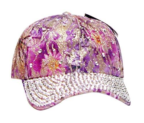 Hat Flower Embellished (Bling Embellished Adjustable Baseball Cap Hat~Pinks & Purple Floral Abstract, OSFA)