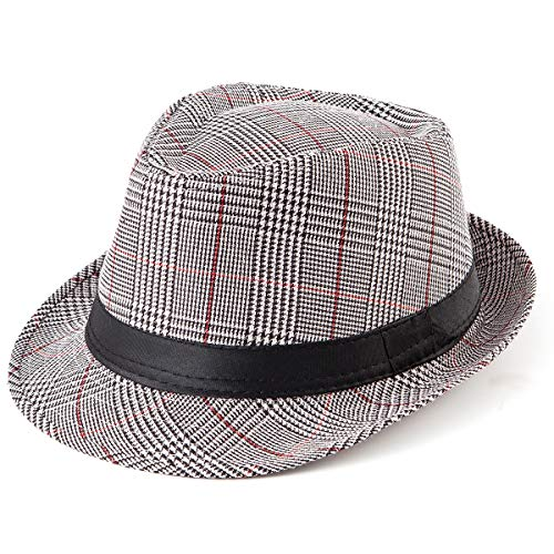 LADYBRO Mens Hats 1920s Fedora Hat - Red and Black Cap Unisex Fedora Hat Grid -