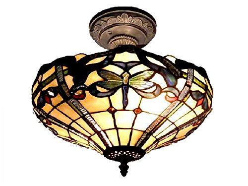 (Dale Tiffany TH12151 Cabrini Semi Flush Mount Light Fixture, Antique Bronze)