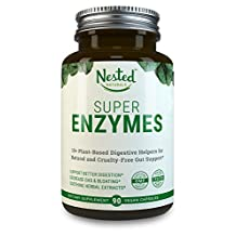 SUPER ENZYMES | Digestive Enzymes: Vegan, Plant Based, Non-GMO, Tested - 11 Guaranteed Active Types (Vegetarian) + Herbal Extracts - A Complete Daily Essential Formula for Men & Women's Gut Health