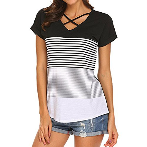 TOPUNDER Casual Stripe Triple T-Shirt Women Short Sleeve Color Block Blouse (Large, 01 Black)]()