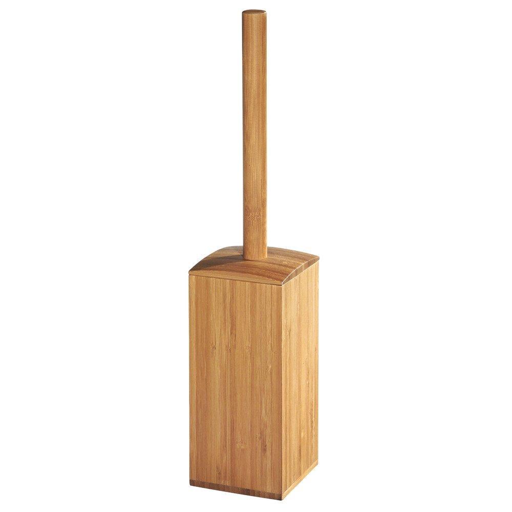 InterDesign Formbu Square Toilet Bowl Brush and Holder - Bathroom Cleaning Storage, Natural Bamboo