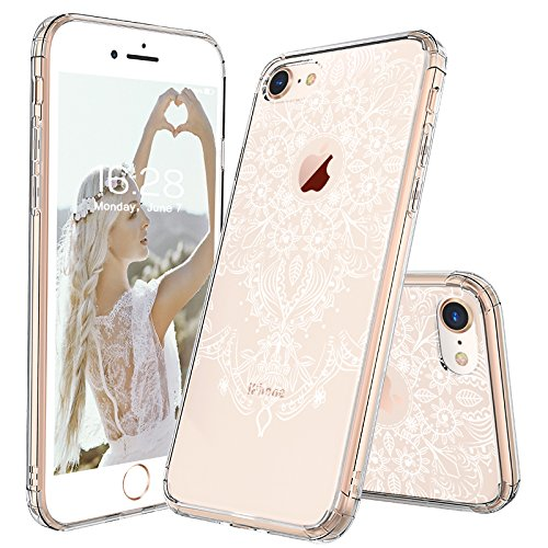 Plastic Case White (iPhone 8 Case, Clear iPhone 8 Case, MOSNOVO White Henna Floral Clear Design Transparent Plastic Hard with TPU Bumper Protective Back Phone Case Cover for Apple iPhone 8 (2017))