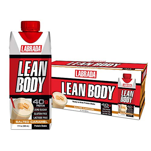 LABRADA - Lean Body Ready To Drink Whey Protein Shake, Convenient On-The-Go Meal Replacement Shake for Men & Women, 40 grams of Protein - Zero Sugar, Lactose & Gluten Free, Salted Caramel (Pack of 12)