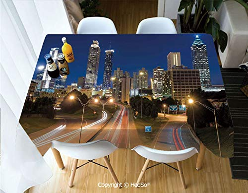 HooSo Premium Polyester Table Cover, Machine Washable, Durable Table Cloths for Wedding Reception Restaurant Banquet Party,Urban,Image of Atlanta Skyline Twilight with Highway,60