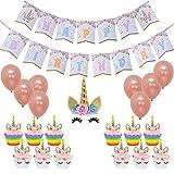Happy Birthday Unicorn Birthday Party Bunting Banner Rainbow Unicorn Themed Party Favors Decorations