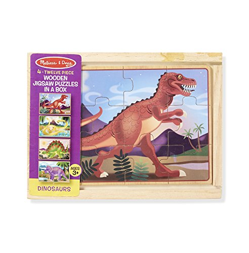 Large Product Image of Melissa & Doug Dinosaurs 4-in-1 Wooden Jigsaw Puzzles in a Storage Box (48 pcs)