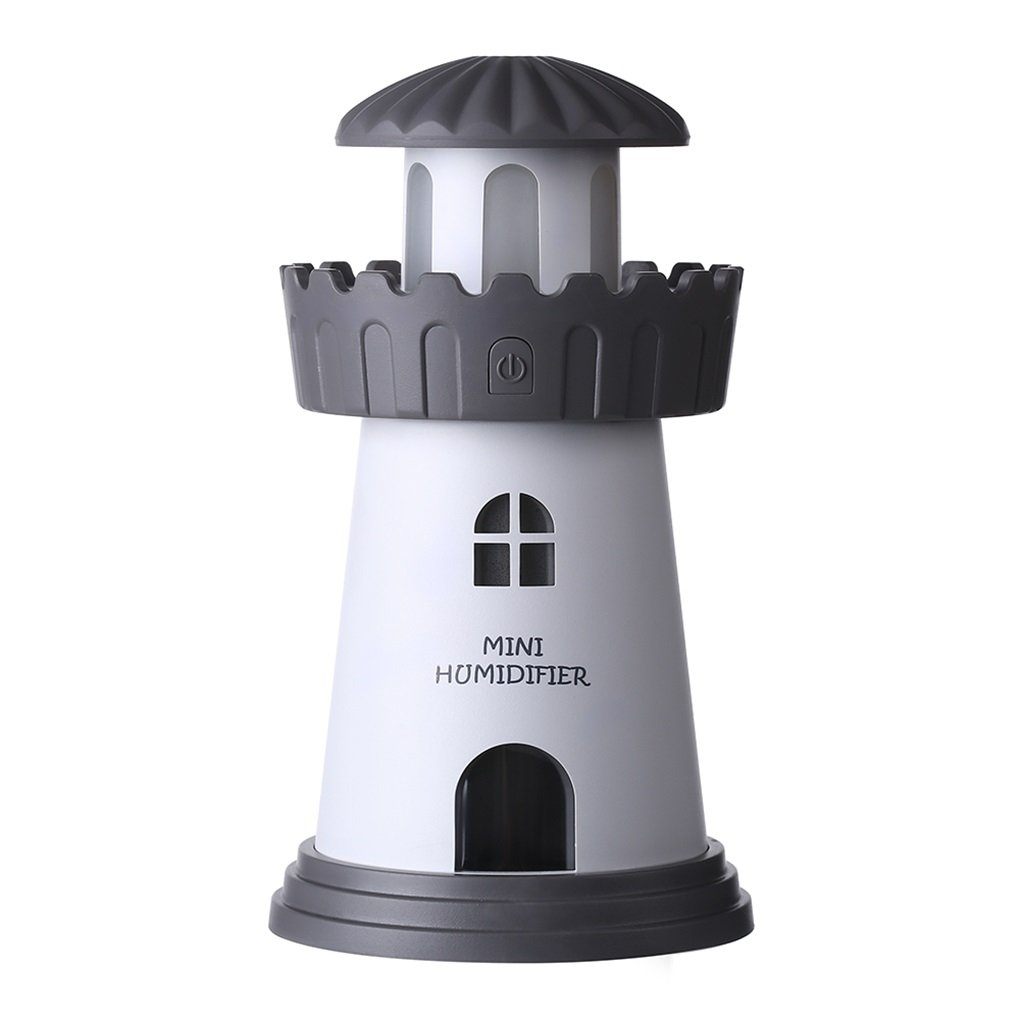 Febote Mini Humidifier Lighthouse, LED Nightlight Air Humidifier with Waterless Auto Shut-off function for Home, Children's room, Desk Bedroom office, Christmas (Gray)