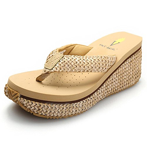 Grace Scarpe Tacco a Zeppa di Vibrazione delle Donne Flop Sandali di Svago Più Colori tra cui Scegliere, 8461 Beige, 35