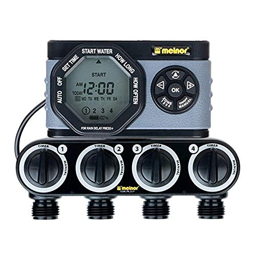 Melnor 53280 4-Outlet Digital Water Timer Simple and Flexible Programming, 4 Zone 4 Zone (2 Pack)