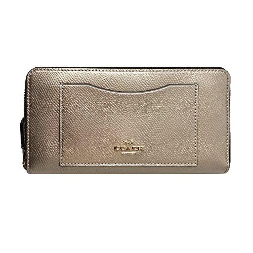 Coach Crossgrain Leather Around Platinum