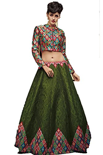 Multi Printed Lehengas Mohit Creations Choli Green Color Traditional Wedding Dark IqwEROw