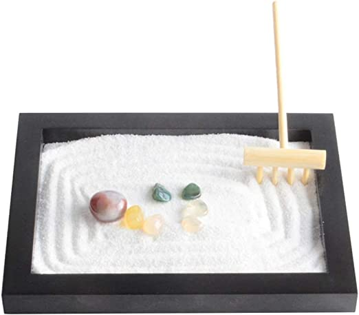 VOSAREA Zen Garden Sandbox Mesa Mini Sandbox Meditación Zen Sand Toy Landscape Sand Garden Modelo Relax Sand Tray for Home Gift Office: Amazon.es: Jardín