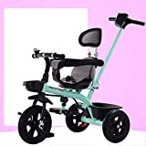 QXMEI Children's Three-wheeled Bicycle 1-3-5 Years Old Boy And Girl Hand Push Tricycle Bicycle Child Baby Stroller,Green2