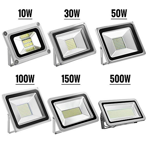 YIMEIS Outdoor 10W-500W LED Flood Light,IP66 Waterproof,800-50000lm, Super Bright Outdoor Security Light, Landscape Light for Yard,Garden,Hall,Stage,Commercial Light,3-year Warranty (Cool White, ()