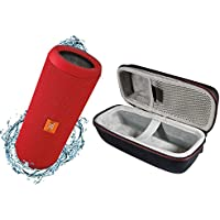 JBL Flip 3 Portable Splashproof Bluetooth Wireless Speaker Bundle with Hardshell Case - Red