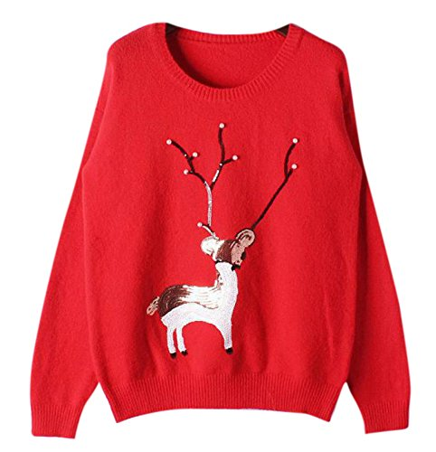 Winter Cute White Pullover Reindeer Christmas Knitted Sweater